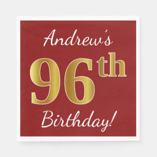 Red, Faux Gold 96th Birthday + Custom Name Disposable Napkins
