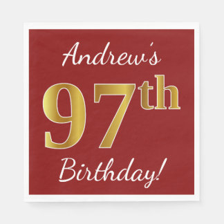 Red, Faux Gold 97th Birthday + Custom Name Paper Napkins
