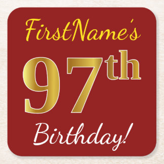 Red, Faux Gold 97th Birthday + Custom Name Square Paper Coaster