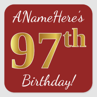 Red, Faux Gold 97th Birthday + Custom Name Sticker