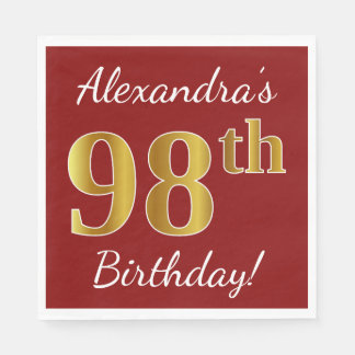 Red, Faux Gold 98th Birthday + Custom Name Disposable Napkins