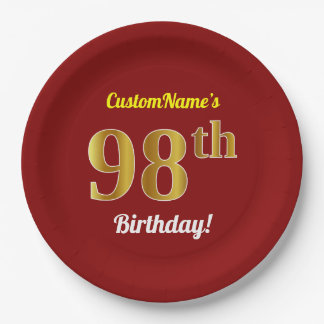 Red, Faux Gold 98th Birthday + Custom Name Paper Plate