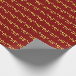 Red, Faux Gold 98th (Ninety-Eighth) Event Wrapping Paper