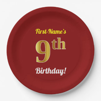 Red, Faux Gold 9th Birthday + Custom Name Paper Plate