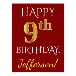 Red, Faux Gold 9th Birthday + Custom Name Postcard