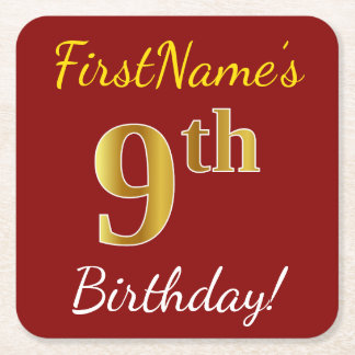 Red, Faux Gold 9th Birthday + Custom Name Square Paper Coaster
