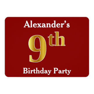 Red, Faux Gold 9th Birthday Party + Custom Name Card