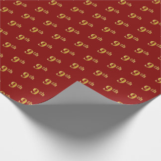 Red, Faux Gold 9th (Ninth) Event Wrapping Paper