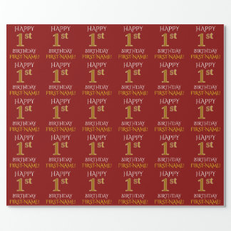"Red, Faux Gold ""HAPPY 1st BIRTHDAY"" Wrapping Paper"