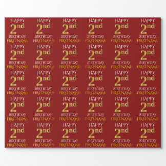 """Red, Faux Gold """"HAPPY 2nd BIRTHDAY"""" Wrapping Paper"""