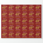 "Red, Faux Gold ""HAPPY 40th BIRTHDAY"" Wrapping Paper"