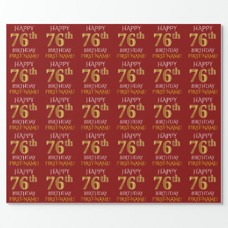 """Red, Faux Gold """"HAPPY 76th BIRTHDAY"""" Wrapping Paper"""