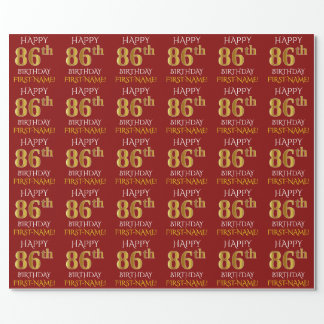 """Red, Faux Gold """"HAPPY 86th BIRTHDAY"""" Wrapping Paper"""