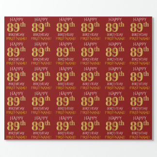 "Red, Faux Gold ""HAPPY 89th BIRTHDAY"" Wrapping Paper"