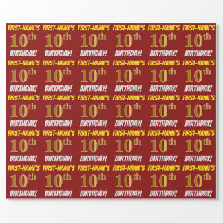 "Red, Faux/Imitation Gold, ""10th BIRTHDAY"" Wrapping Paper"