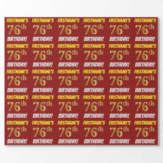 """Red, Faux/Imitation Gold, """"76th BIRTHDAY"""" Wrapping Paper"""