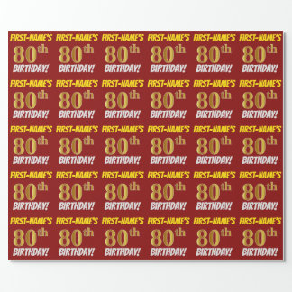"Red, Faux/Imitation Gold, ""80th BIRTHDAY"" Wrapping Paper"