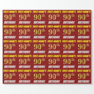 "Red, Faux/Imitation Gold, ""90th BIRTHDAY"" Wrapping Paper"