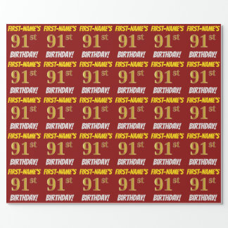 """Red, Faux/Imitation Gold, """"91st BIRTHDAY"""" Wrapping Paper"""