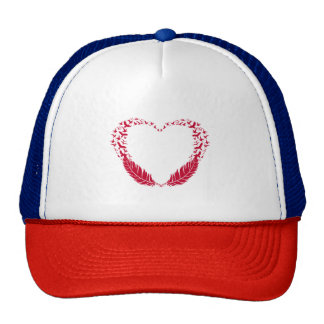 Red feather heart with flying birds trucker hat