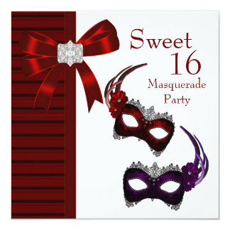 Red Feather Masks Sweet 16 Masquerade Party Card