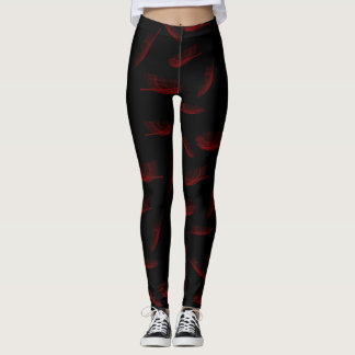 Red Feathers Leggings