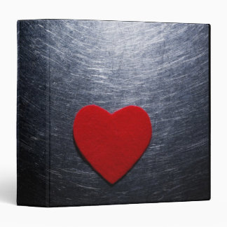 Red Felt Heart on Stainless Steel Background Binder