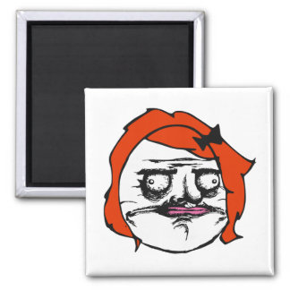 Red Female Me Gusta Comic Rage Face Meme Square Magnet