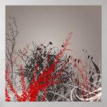 Red Fern Modern Art Flowers Print