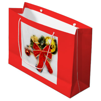 Red festive bow large gift bag
