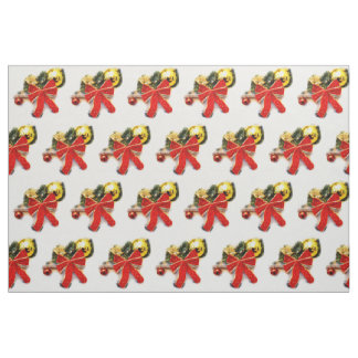 Red festive bows fabric