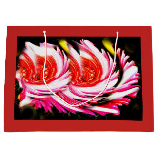 Red festive flowers large gift bag