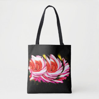 Red festive flowers tote bag