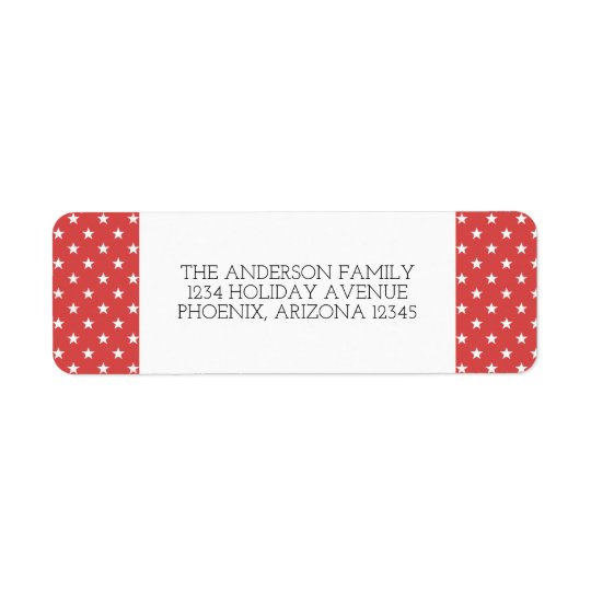 Red Festive Stars Holiday Address Labels