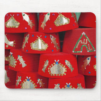 Red Fez Hats At Market Mouse Pad