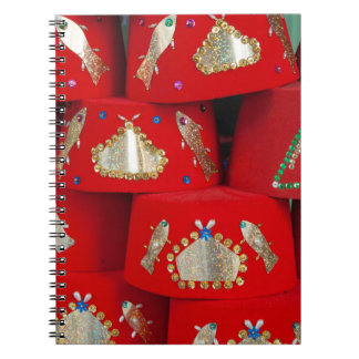 Red Fez Hats At Market Spiral Notebook