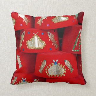 Red Fez Hats At Market Throw Pillow