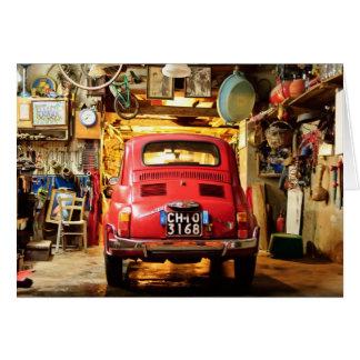 Red Fiat 500 Cinquecento in Italy Card