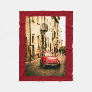 Red Fiat 500, Italy, Fleece Blanket vintage car