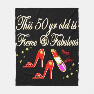 RED FIERCE AND FABULOUS 50TH BIRTHDAY FLEECE BLANKET