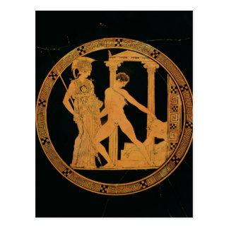 Red-figure cup depicting Athena, Theseus Postcard