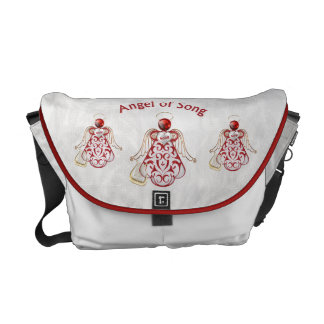 Red Filigree & Gold Christmas Angel of Song Courier Bags