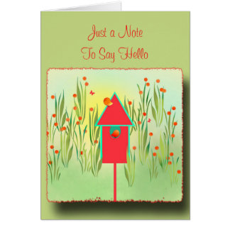 Red Finches in the Garden Greeting Card