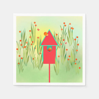 Red Finches in the Garden Paper Napkins