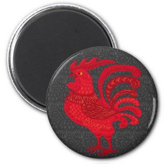 Red Fire Chicken Year 2 Inch Round Magnet