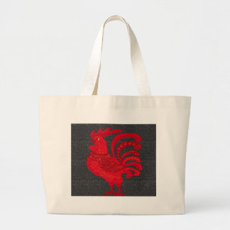 Red Fire Chicken Year Large Tote Bag