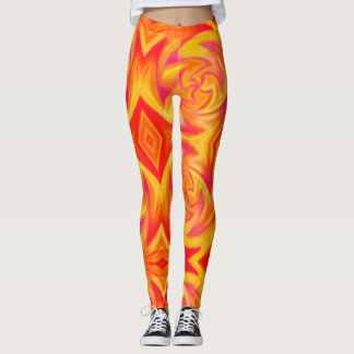 red fire print leggings