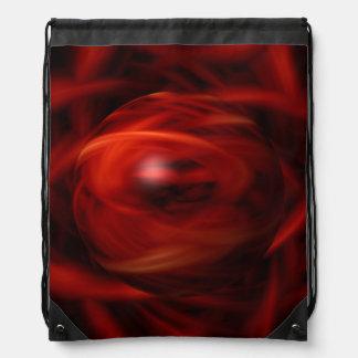 Red Fire Sphere Drawstring Bag