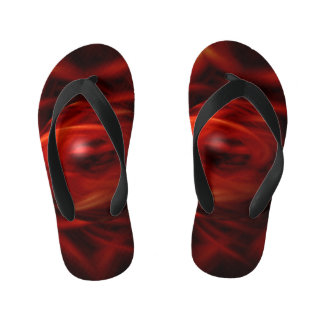 Red Fire Sphere Kid's Flip Flops