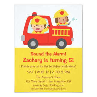 """Red Fire Truck and Fire fighter Boy Birthday Party 4.25"""" X 5.5"""" Invitation Card"""